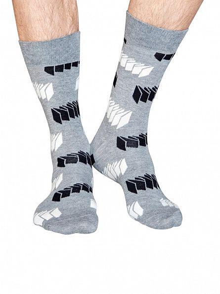 Happy Socks Grey/Black 4 Pack Optic Socks Gift Box