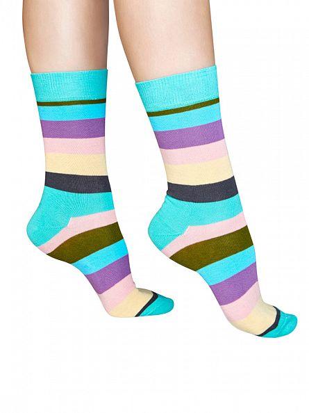 Happy Socks Multi 4 Pack Stripe Socks Gift Box