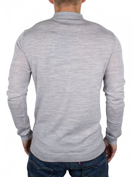 Minimum Light Grey Melange Longsleeved Jaylen Polo Shirt Knit