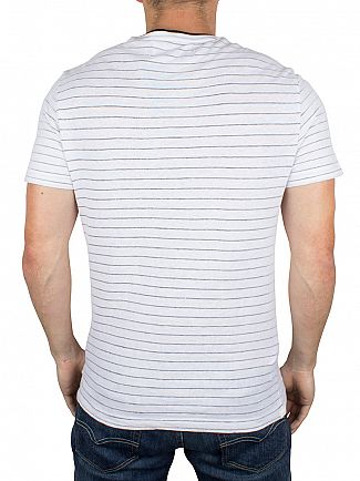 Original Penguin Bright White Stripe Jacquard Logo T-Shirt