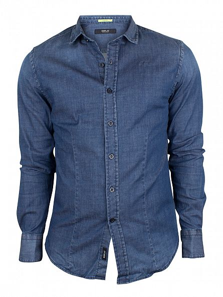 Replay Blue Slim Fit Denim Shirt