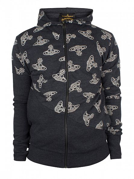 Vivienne Westwood Black Time Machine All Over Logo Zip Hoodie