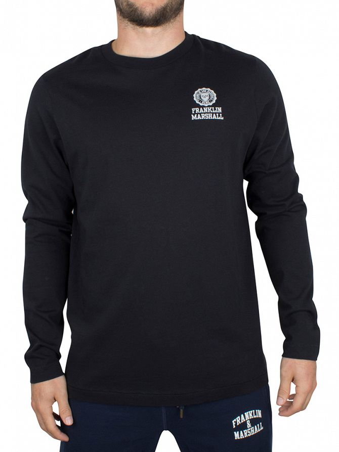 Franklin & Marshall Black Longsleeved Chest Logo T-Shirt