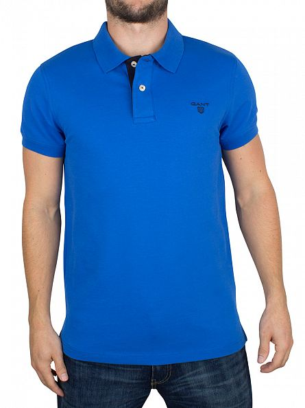 Gant Nautical Blue Contrast Collar Pique Logo Polo Shirt