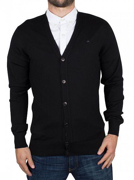 J Lindeberg Black Lymac True Merino Logo Cardigan