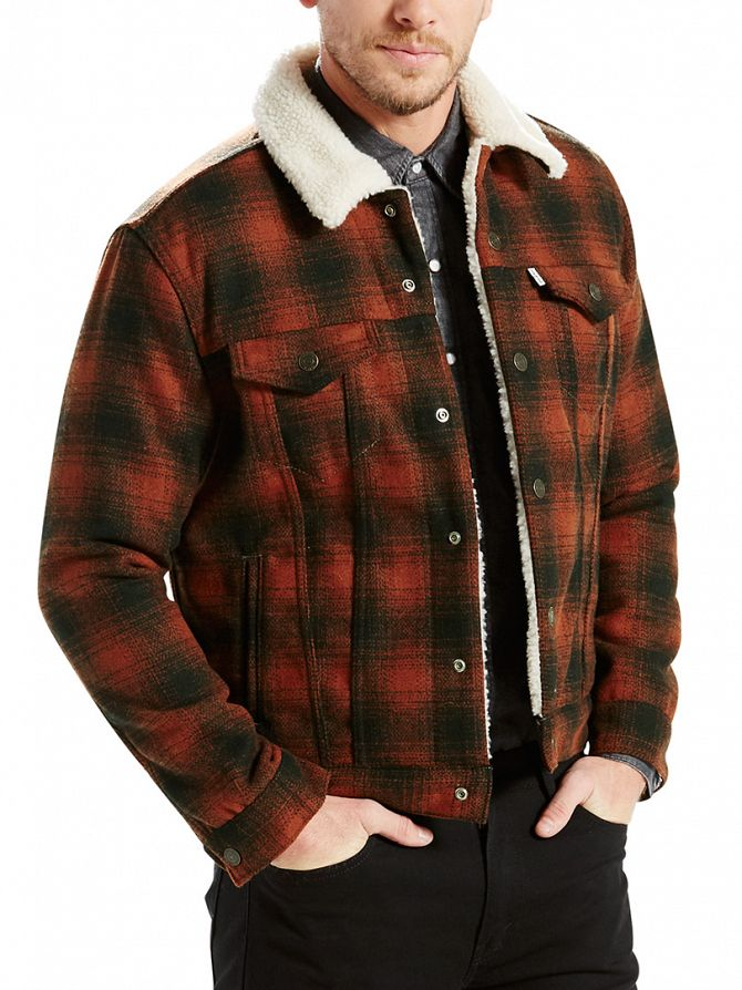 Levi's Brown Type 3 Mastic Burnt Sherpa Trucker Jacket