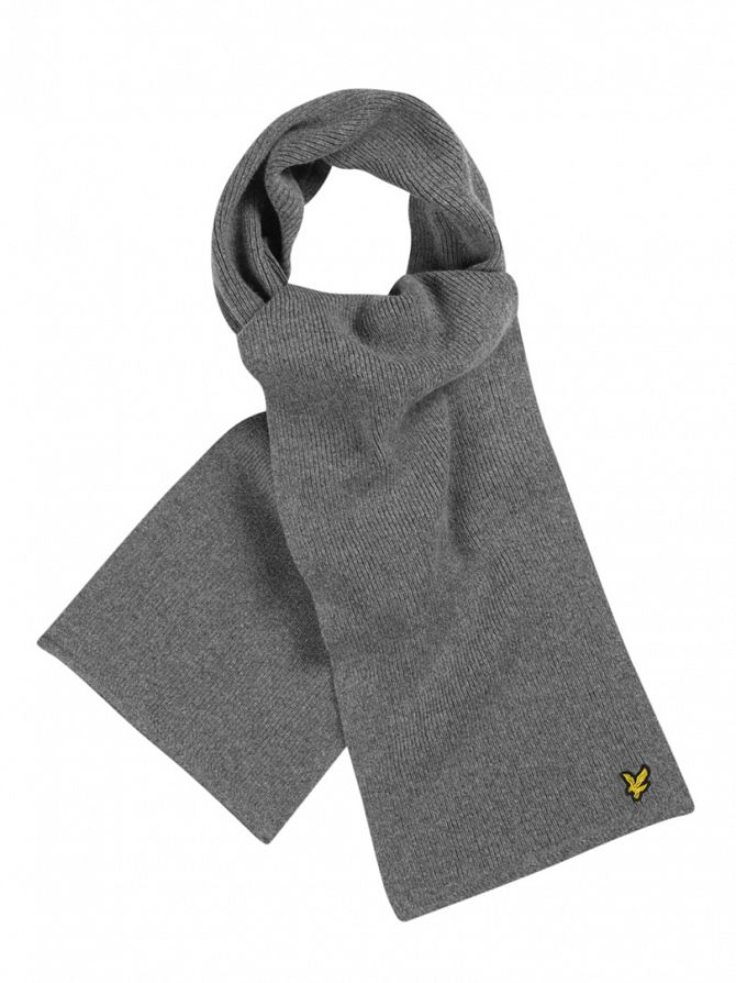 Lyle & Scott Mid Grey Marl Racked Rib Logo Scarf