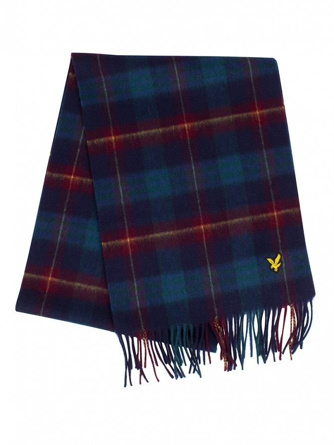 Lyle & Scott New Navy Woven Tartan Logo Scarf