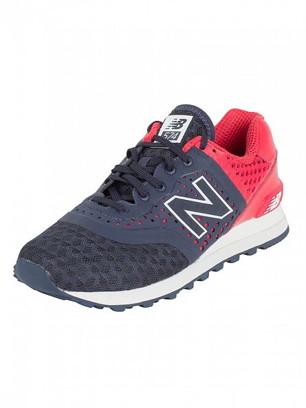 New Balance Navy/Red 574 Beath Trainers