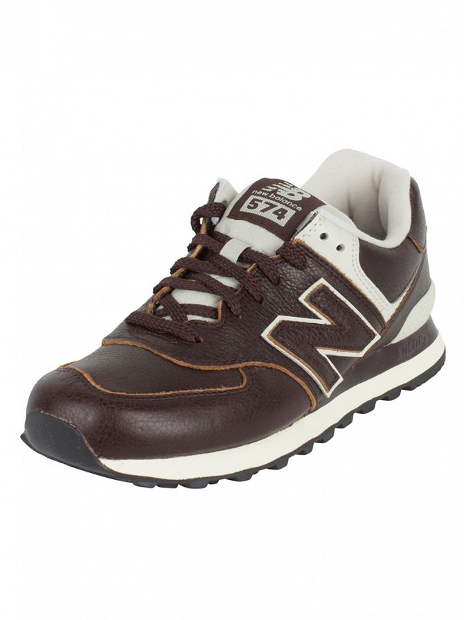 New Balance Brown 574 Lux Leather Trainers