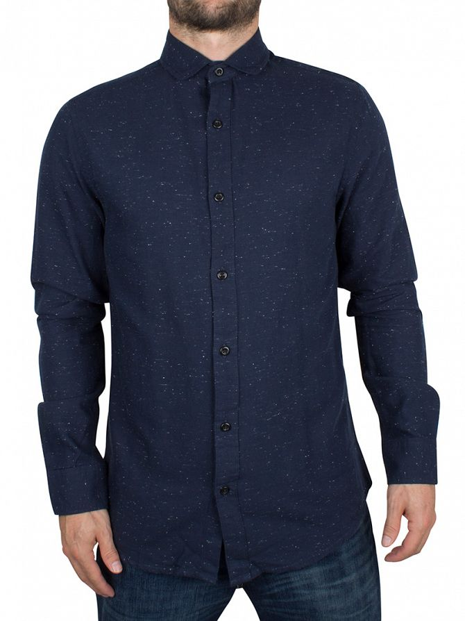 Only & Sons Dark Navy Slim Fit Sejr Flecked Shirt