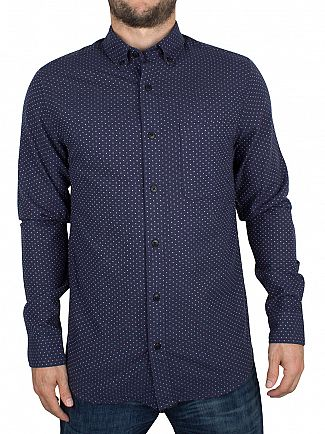 Only & Sons Dress Blue Slim Fit Steen Dotted Shirt