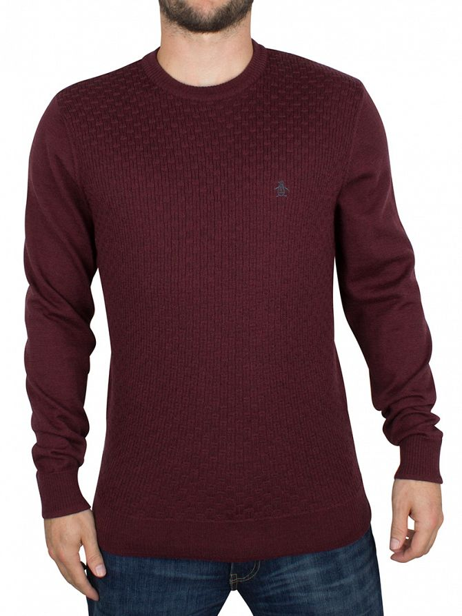 Original Penguin Pomegranate Italian Merino Basketweave Logo Knit