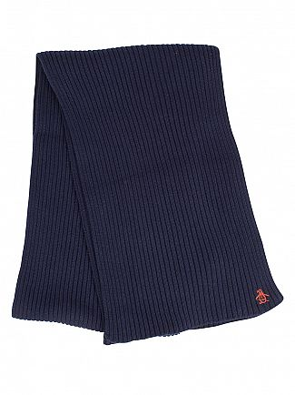 Original Penguin Blue Wing Teal Twisted Yarn Rib Logo Scarf