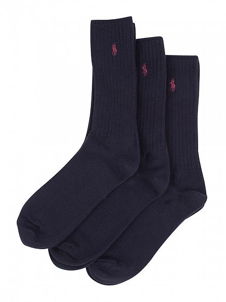 Polo Ralph Lauren Navy 3 Pack Ribbed Logo Socks
