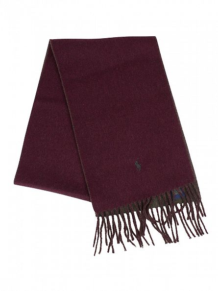 Polo Ralph Lauren Wine/Loden Heather Classic Reversible Logo Scarf