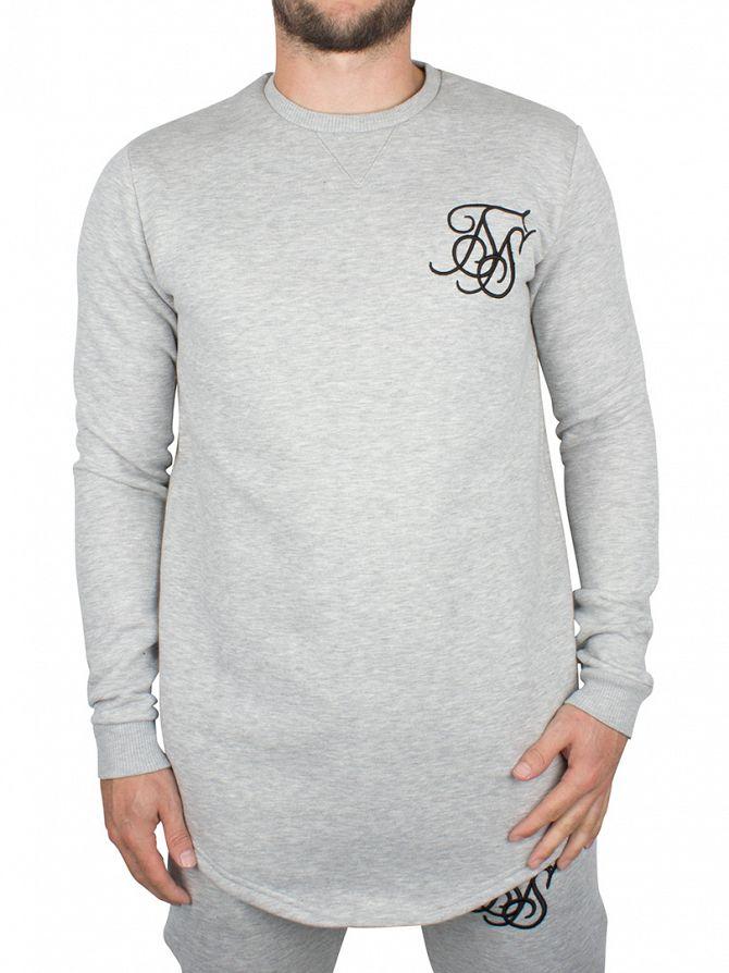 Sik Silk Grey Marl Curved Hem Logo Sweatshirt