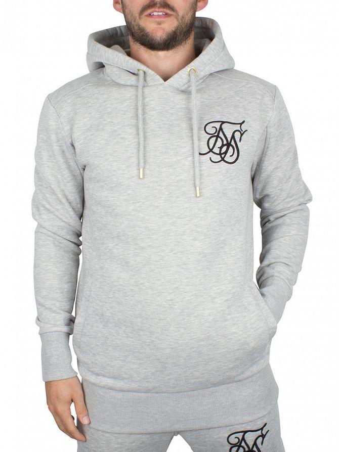 Sik Silk Grey Marl Overhead Logo Hoodie