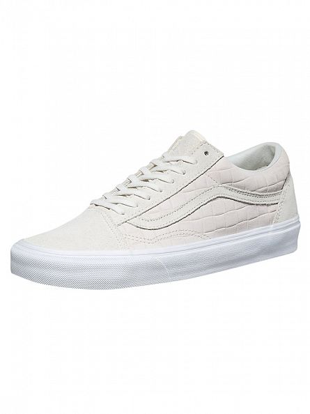 Vans White Old Skool Suede Checkers Trainers