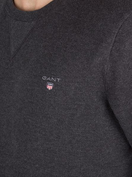 Gant Dark Anthracite Melange Sacker Rib Sweatshirt