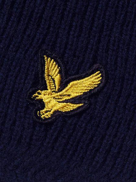 Lyle & Scott New Navy Racked Rib Logo Scarf