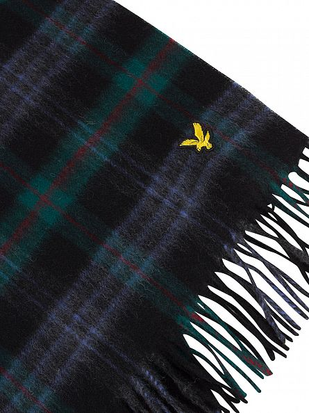 Lyle & Scott Emerald Green Woven Tartan Logo Scarf