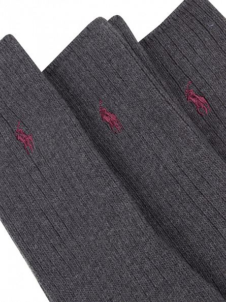 Polo Ralph Lauren Charcoal 3 Pack Ribbed Logo Socks