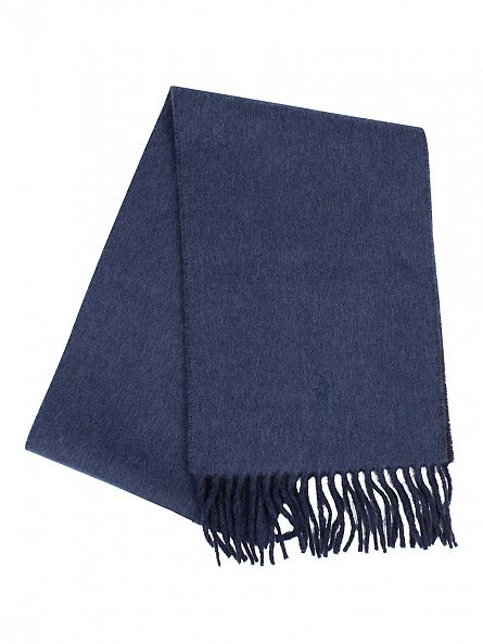 Polo Ralph Lauren Hunter Navy/Shale Blue Heather Classic Reversible Logo Scarf
