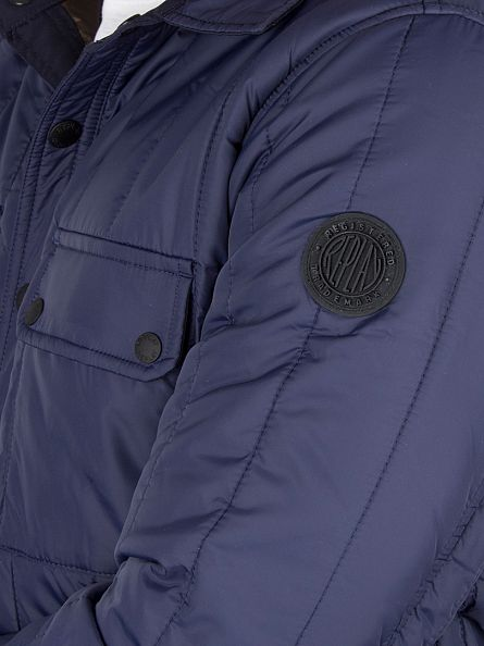 Replay Navy Quilted Button Jacket