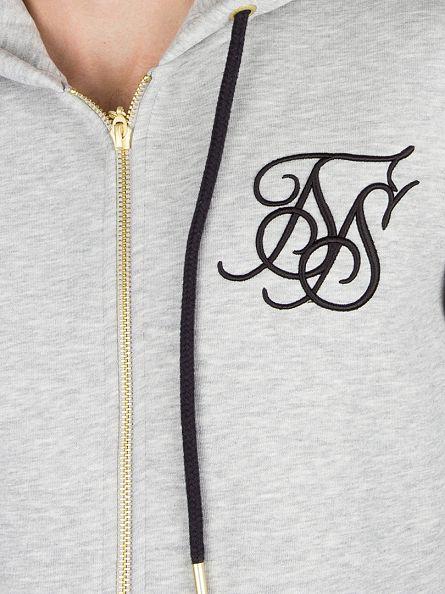 Sik Silk Grey Marl Zip Through Logo Hoodie