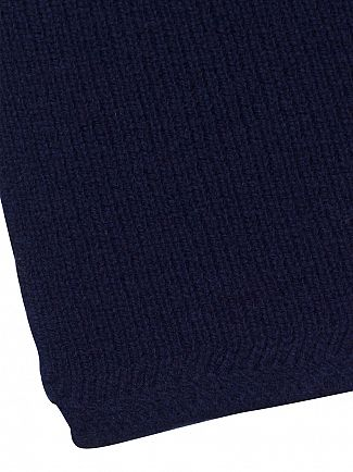 Lyle & Scott New Navy Racked Rib Logo Scarf