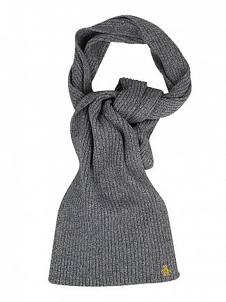 Original Penguin Dark Shadow Twisted Yarn Rib Logo Scarf