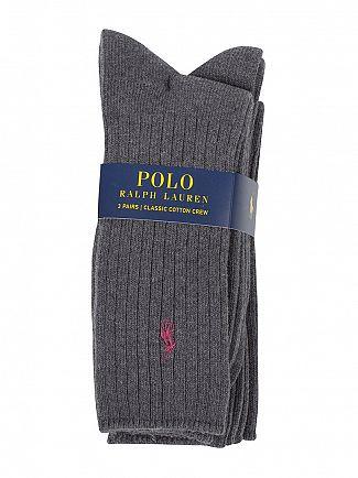 Polo Ralph Lauren Charcoal 3 Pack Ribbed Logo Socks