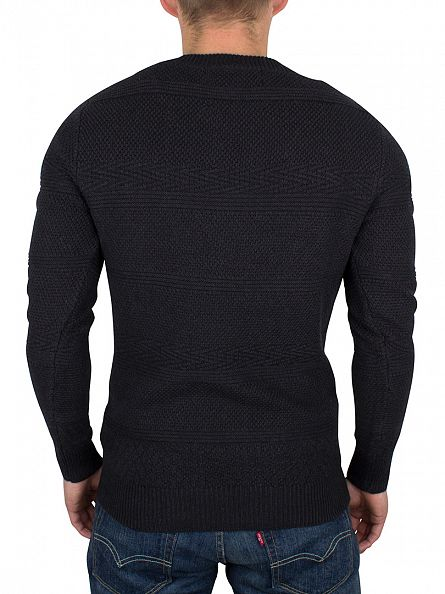 Scotch & Soda Graphite Melange Textured Logo Knit