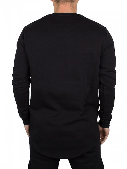 Sik Silk Black Curved Hem Logo Sweatshirt
