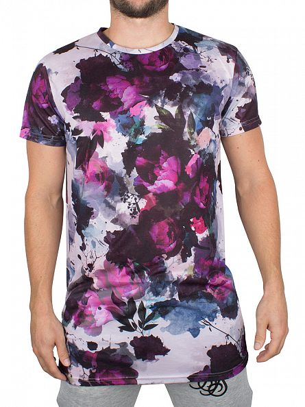Sik Silk White Double Layered Ripped Floral Logo T-Shirt