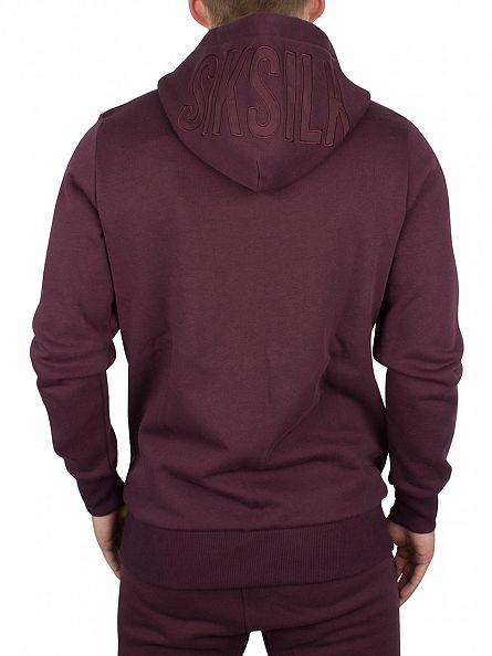 Sik Silk Burgundy Zip Through Logo Hoodie