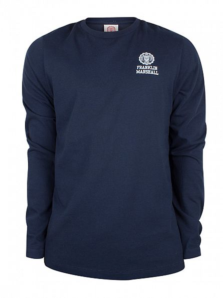 Franklin & Marshall Navy Longsleeved Chest Logo T-Shirt
