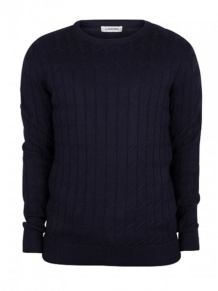 J Lindeberg Navy Hugo Square Braid Knit