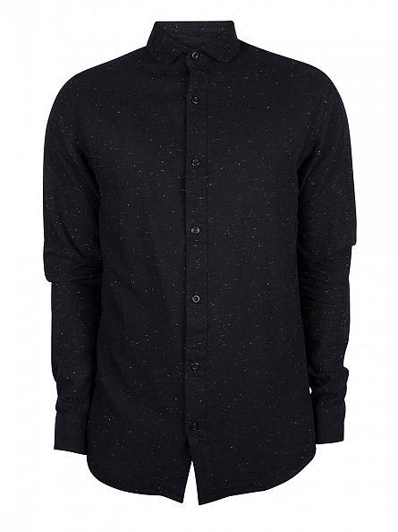 Only & Sons Black Slim Fit Sejr Flecked Shirt