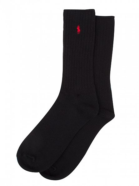 Polo Ralph Lauren Black 3 Pack Ribbed Logo Socks