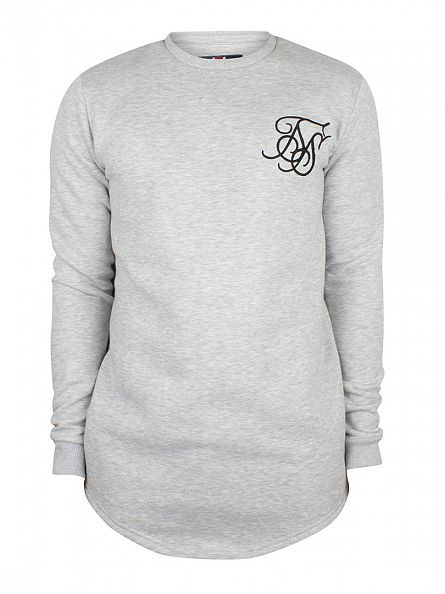 Sik Silk Grey Marl Curved Hem Logo Sweatshirt