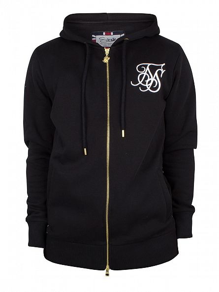 Sik Silk Black Zip Through Logo Hoodie