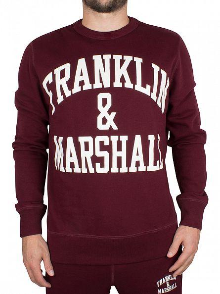 Franklin & Marshall Bordeaux Arch Logo Sweatshirt Tracksuit