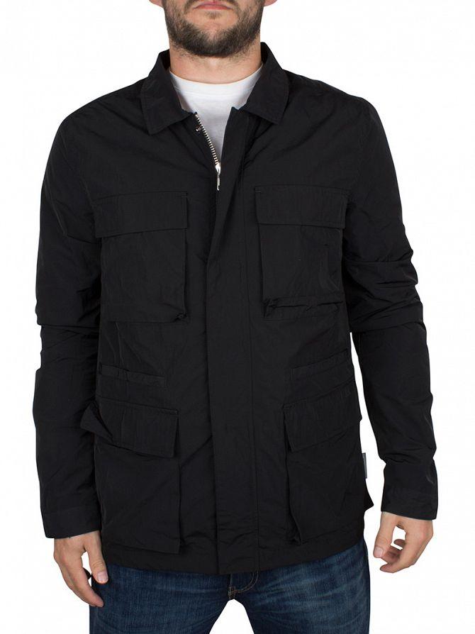 Bellfield Black Wool Mix Crombie Pocket Jacket