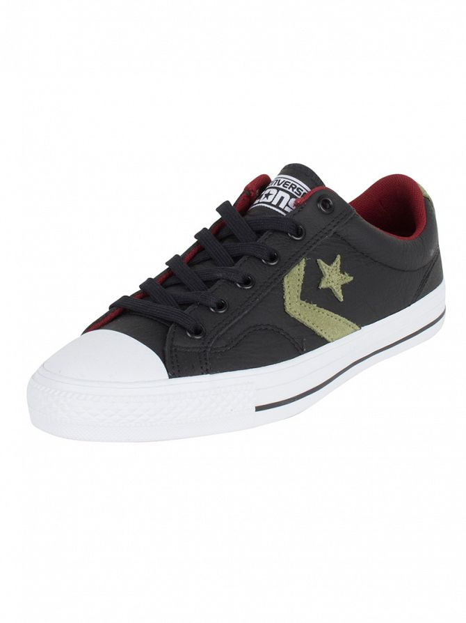 Converse Black/Fatigue Green/Red Block Star Player Leather OX Trainers