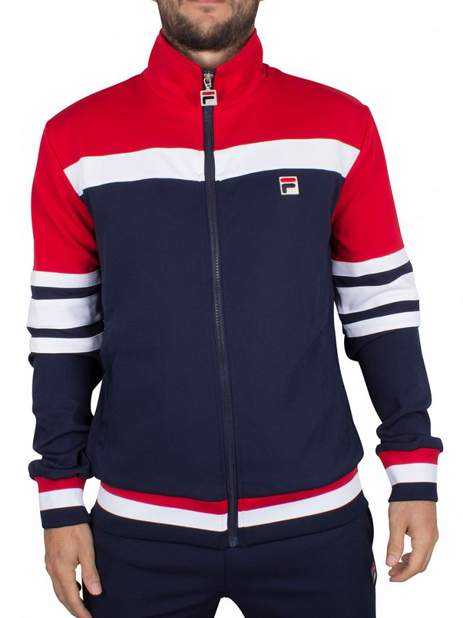 Fila Vintage Peacoat Courto Logo Panel Track Jacket
