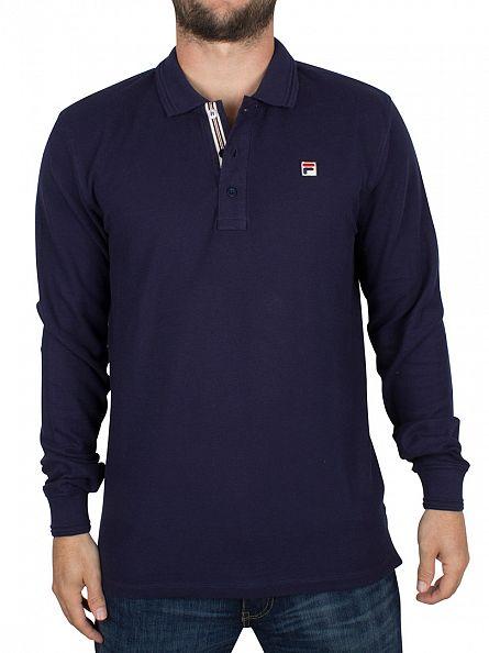 Fila Vintage Peacoat Longsleeved Padola Logo Polo Shirt