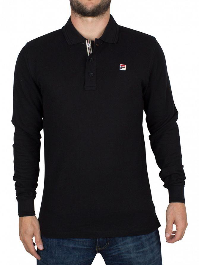 Fila Vintage Black Longsleeved Padola Logo Polo Shirt