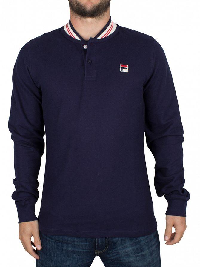 Fila Vintage Peacoat Longsleeved Rocca Base Ball Logo Polo Shirt